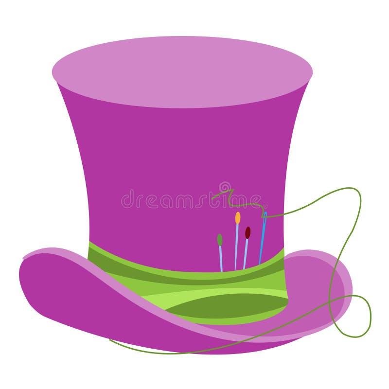 Purpurowy czarownika kapelusz z zielonym faborkiem i szwalnymi igłami Starego cz?owieka pi?ropusz Butla d?entelmen Kapeluszowy sk royalty ilustracja