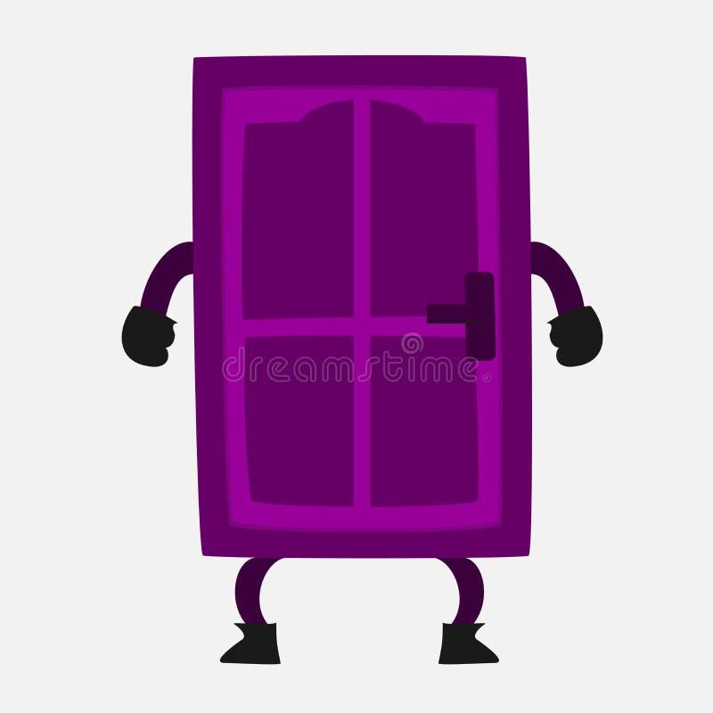 Purpurowy Drzwiowy kreskówki ilustraci wektor obrazy royalty free