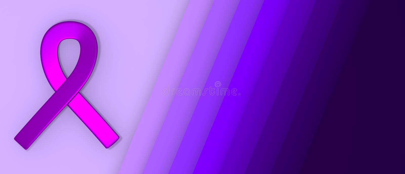 Purpurowy faborek jako symbol epilepsji świadomości dnia papieru rżnięty tło z kopii przestrzeni 3D ilustracją ilustracji