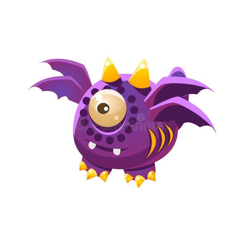 Purpurowy Fantastyczny Życzliwy zwierzę domowe smok Z Cztery skrzydeł fantazi potwora Imaginacyjną kolekcją ilustracja wektor