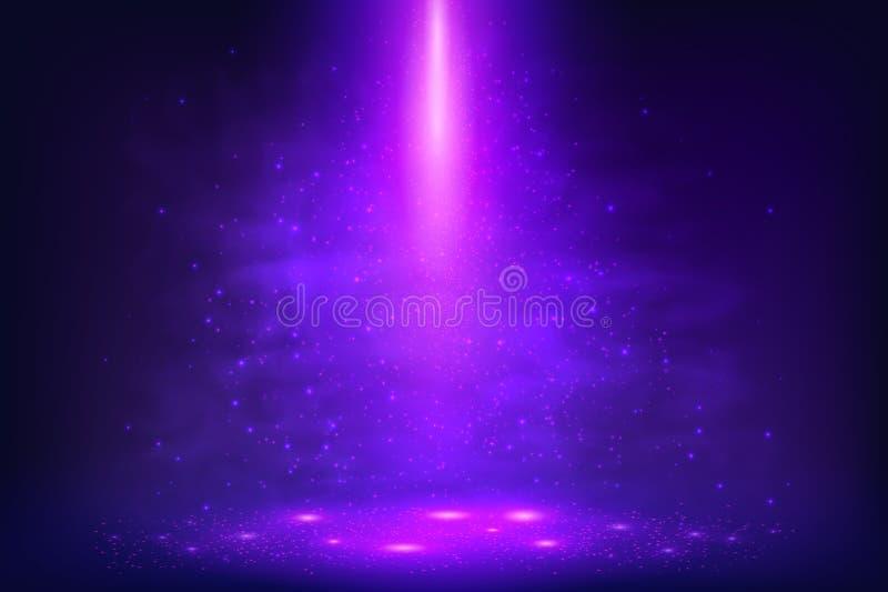 Purpurowy fiołkowy wektorowy magii światła tło ilustracja wektor