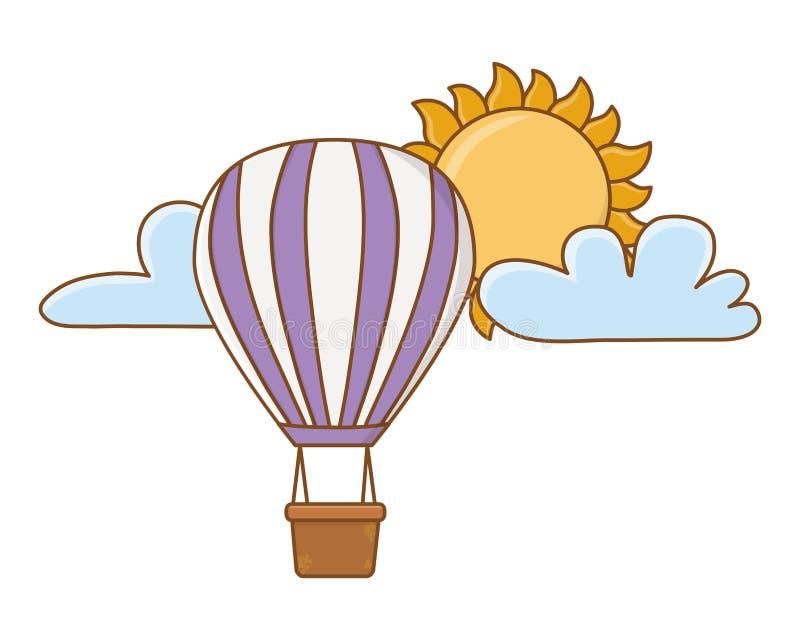 Purpurowy gorące powietrze balonów latać ilustracja wektor