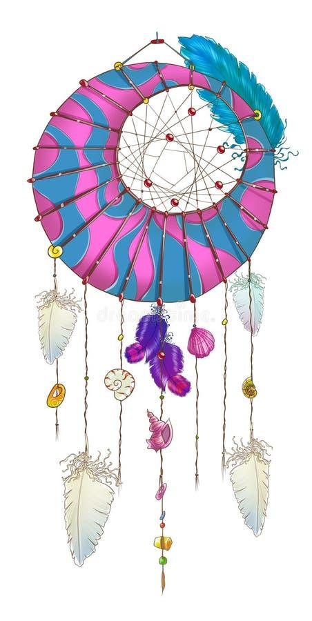 Purpurowy i błękitny dreamcatcher z białymi piórkami royalty ilustracja