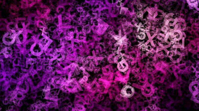 Purpurowy i Czarny Przypadkowy listu chaosu tła wizerunek ilustracji