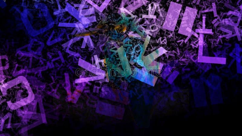 Purpurowy i Czarny Przypadkowy listu chaosu tła wizerunku graficznej sztuki projekta Piękny elegancki Ilustracyjny tło royalty ilustracja
