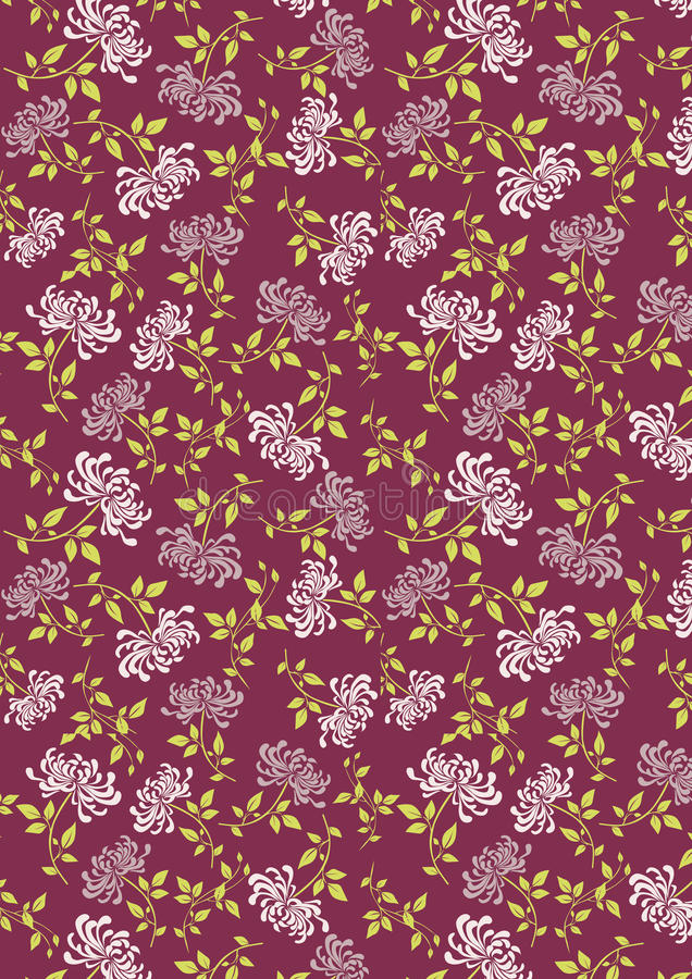 Purpurowy Juhua kwiat z liścia tła wzorem obraz stock