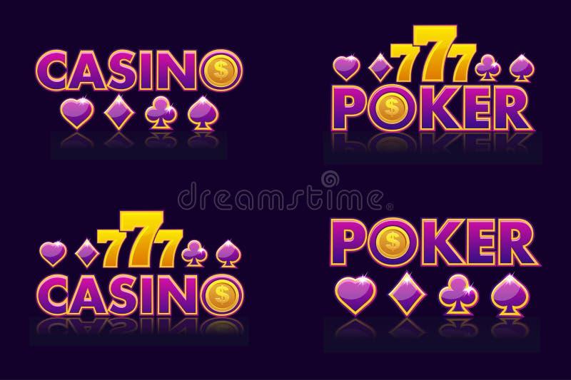 Purpurowy logo pomysłów teksta kasyno i grzebak Wektorowe ikony dla loterii lub kasyna Odosobniony cztery emblemat ilustracji