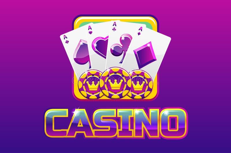 Purpurowy logo teksta kasyno i ikona Dla Ui gry, ilustracja wektor