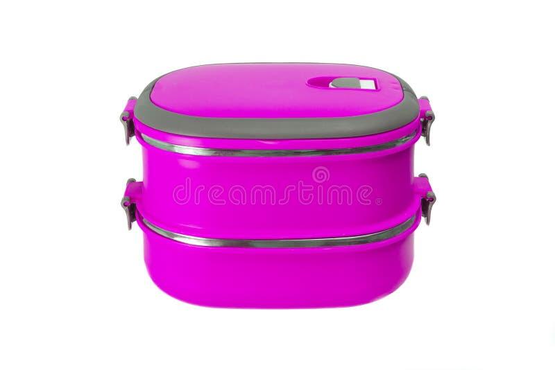 Purpurowy lunchu pudełko odizolowywający zdjęcia royalty free
