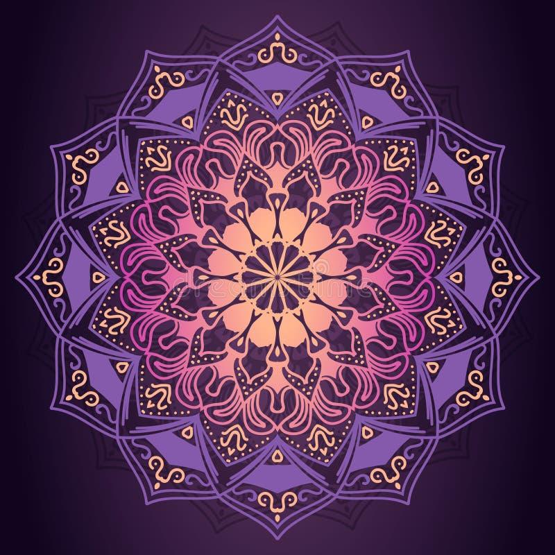 Purpurowy mandala ornamentacyjny wzór w ciemnym tło wektoru illu ilustracja wektor