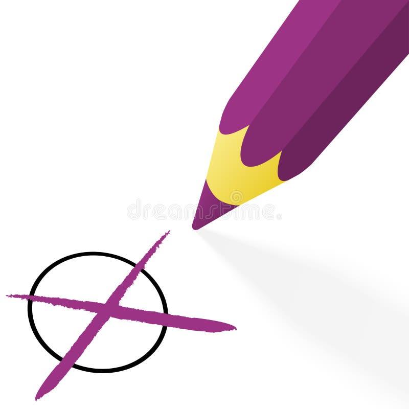 purpurowy ołówek z krzyżem ilustracja wektor