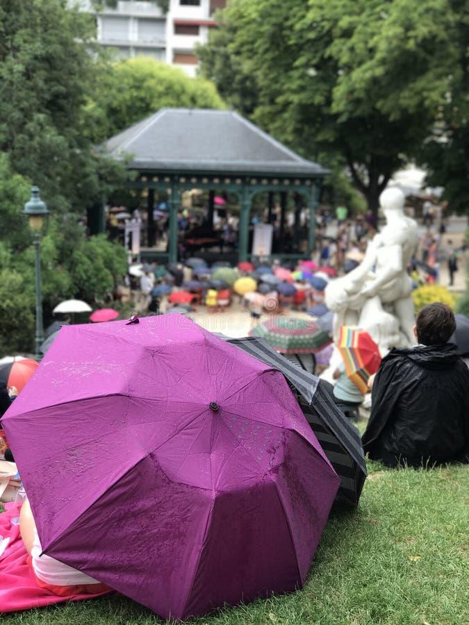 Purpurowy parasol w ogródzie zdjęcia stock