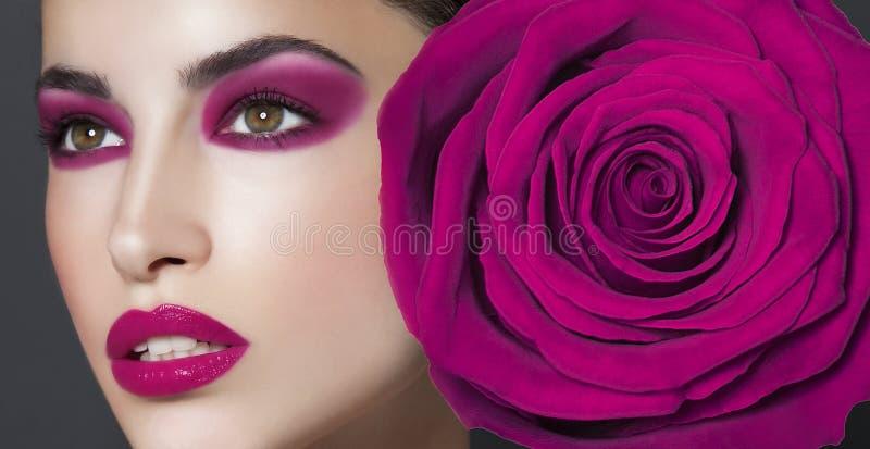 Purpurowy piękna makeup obrazy stock