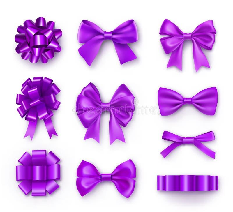 Purpurowy prezent ono k?ania si? z faborkami ilustracji