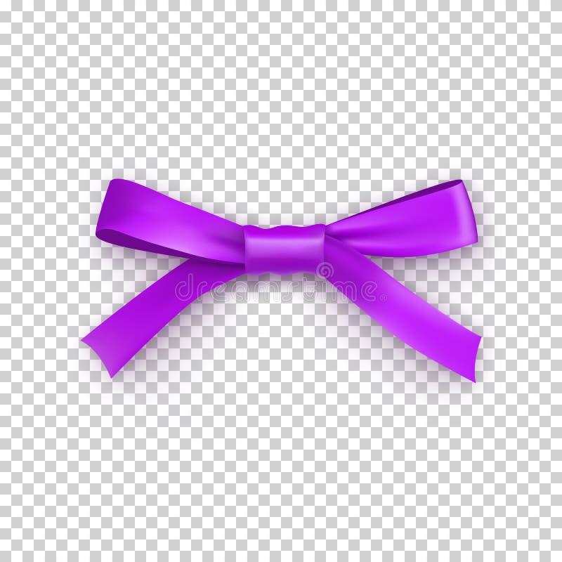 Purpurowy prezenta łęk od atłas cienkiej taśmy royalty ilustracja