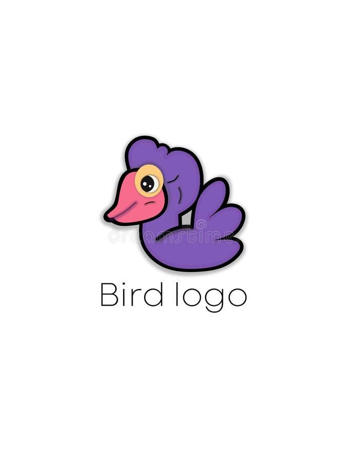 Purpurowy ptasi kreskówka logo Dziecko łabędzia wektorowa ilustracja ilustracji