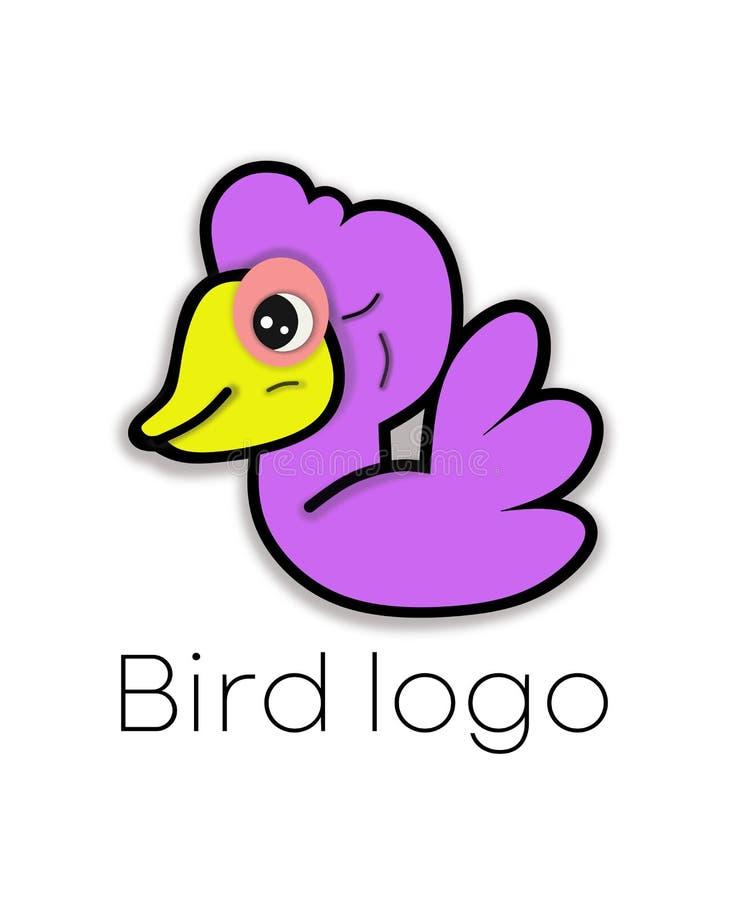 Purpurowy Ptasi logo Abstrakcjonistyczna wektorowa ilustracja śliczny kaczątko ilustracja wektor