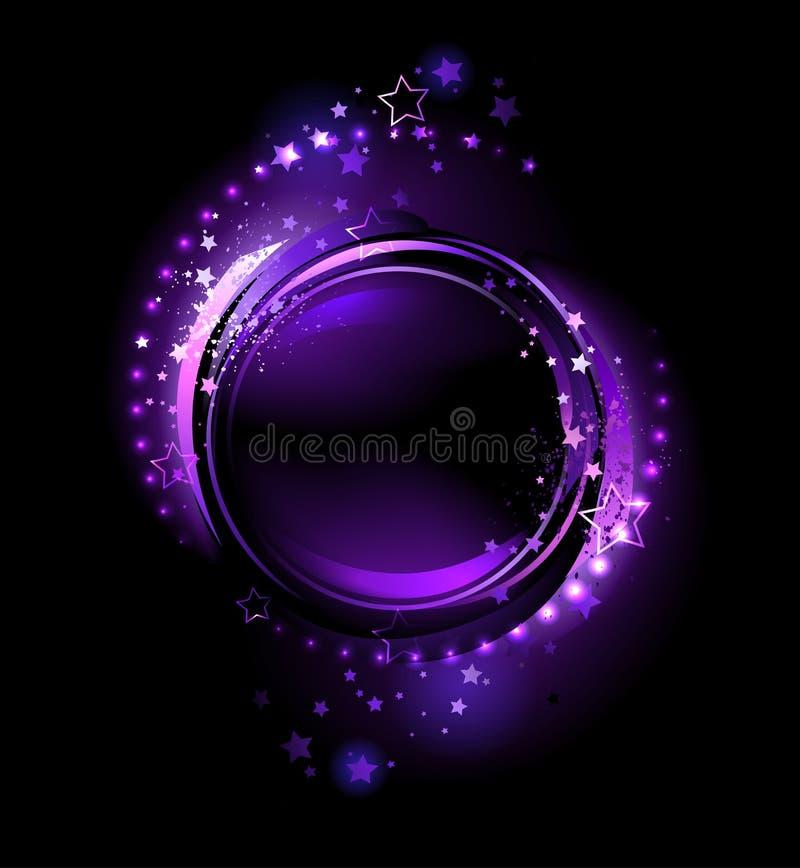 Purpurowy round sztandar ilustracja wektor
