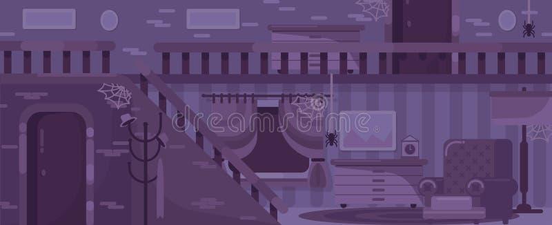 Purpurowy straszny, stary dom, ilustracyjny wewnętrzny pokój z Halloween symbolami i pająki, ilustracji