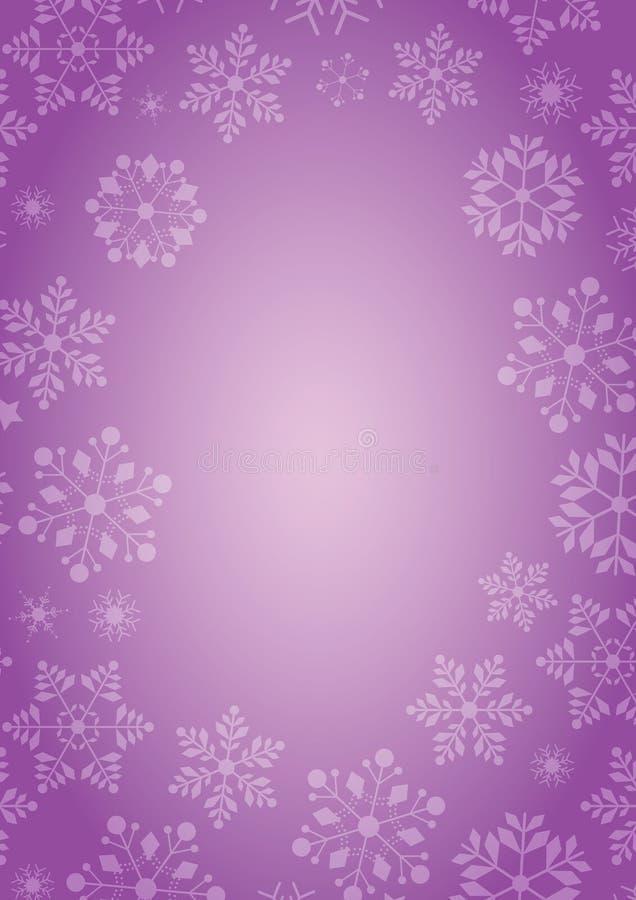 Purpurowy tło z płatek śniegu granicą ilustracji