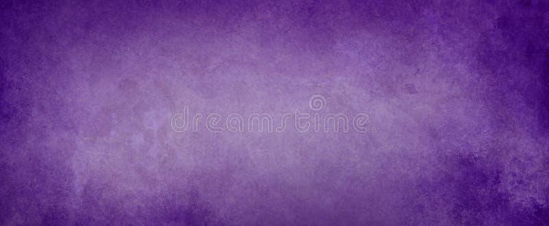 Purpurowy tło z zatartym bielu centrum, elegancki textured rocznika projekt z ciemną purpurową grunge granicą ilustracja wektor