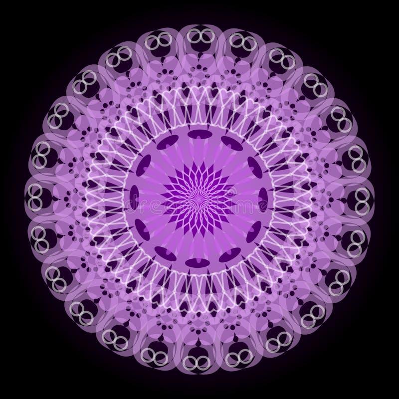 Purpurowy tajemnicy mandala dla medytaci szkolenia ilustracja wektor