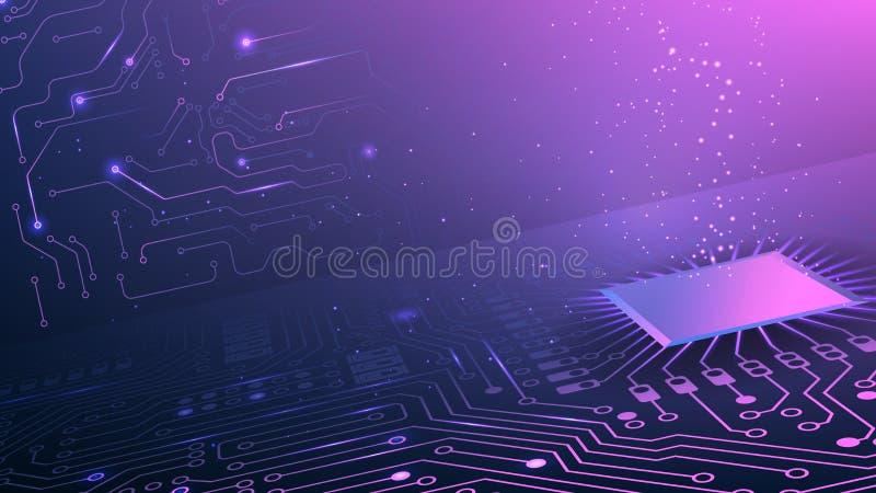 Purpurowy technologiczny t?o Sie? komputerowa i uk?ady scaleni Internet i technologia obwody elektroniczne Uk?ady scaleni z binar ilustracja wektor