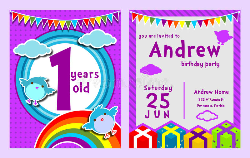 Purpurowy tematu ptaka chmury urodziny żartuje zaproszenie kartę fotografia royalty free