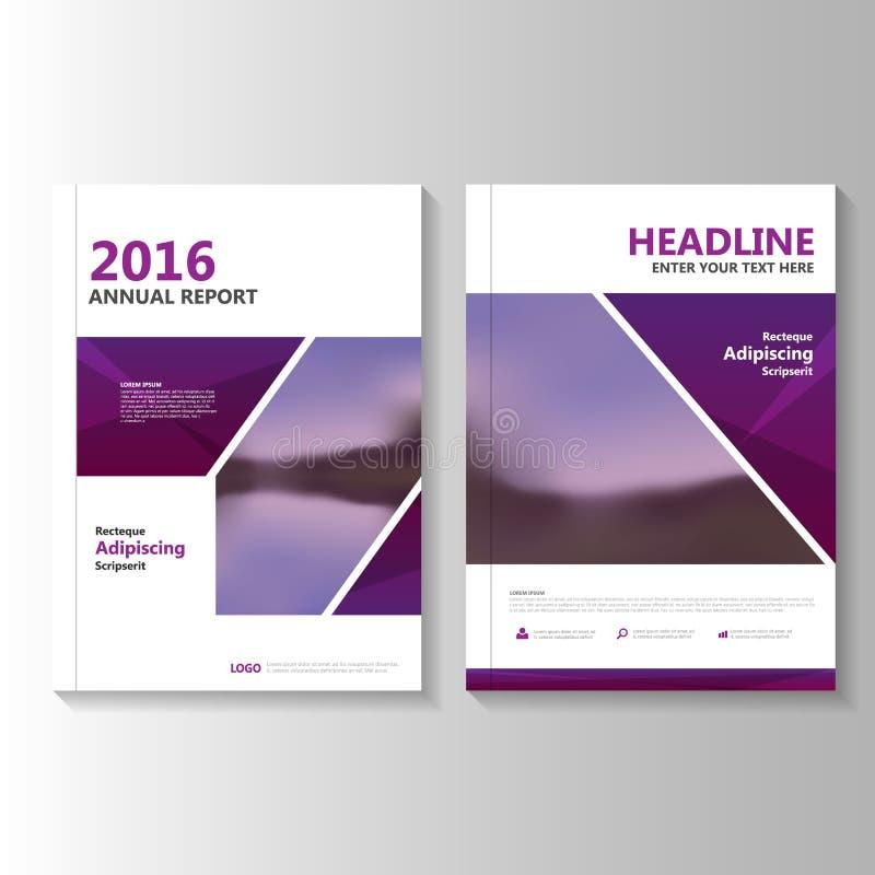 Purpurowy Wektorowy sprawozdanie roczne ulotki broszurki ulotki szablonu projekt, książkowej pokrywy układu projekt, Abstrakcjoni ilustracji