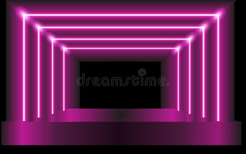 Purpurowy wektorowy tło abstrakcjonistyczna scena lub futurystyczny portal - ilustracji