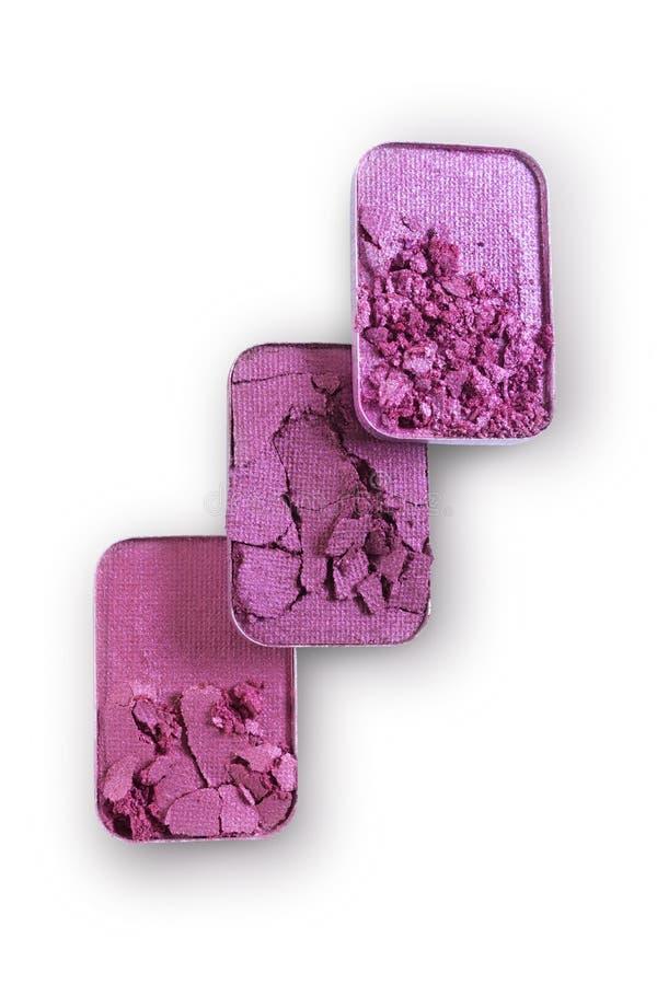 Purpurowy zdruzgotany eyeshadow dla uzupełniał jak próbka kosmetyczny produkt zdjęcie royalty free
