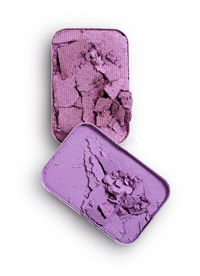 Purpurowy zdruzgotany eyeshadow dla uzupełniał jak próbka kosmetyczny produkt zdjęcia stock