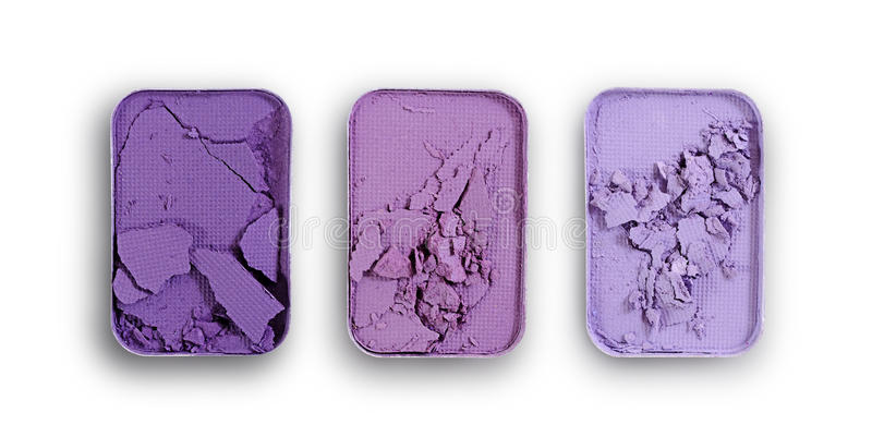 Purpurowy zdruzgotany eyeshadow dla uzupełniał jak próbka kosmetyczny produkt obrazy stock