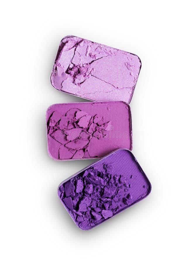 Purpurowy zdruzgotany eyeshadow dla uzupełniał jak próbka kosmetyczny produkt fotografia stock
