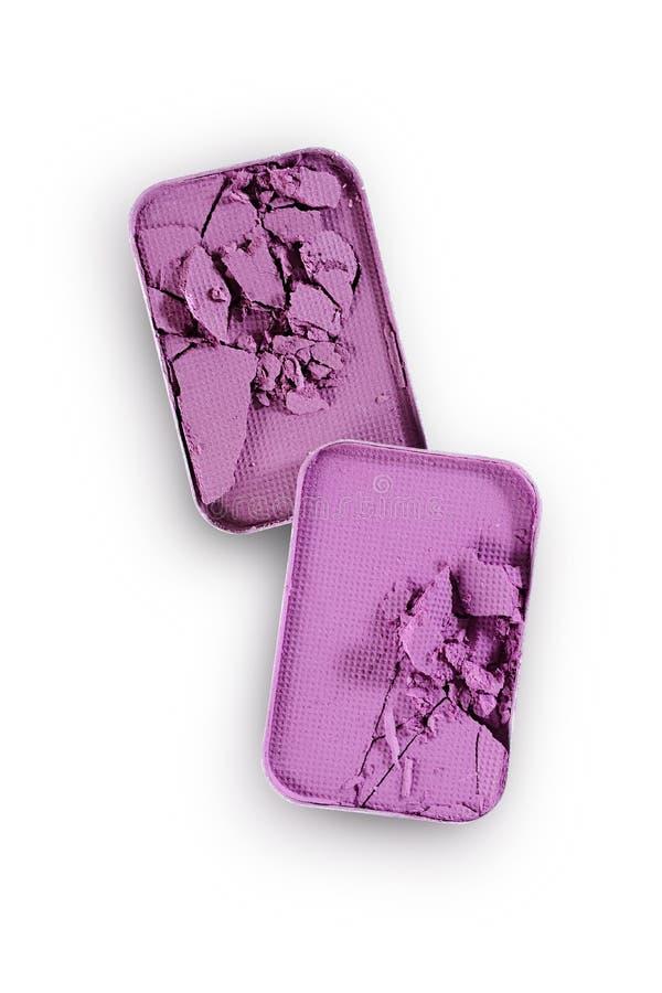 Purpurowy zdruzgotany eyeshadow dla uzupełniał jak próbka kosmetyczny produkt zdjęcie stock