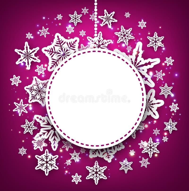 Purpurowy zimy tło z płatkami śniegu ilustracja wektor