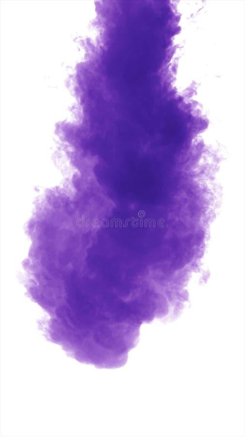 Purpurowy zwarty dym na białym tle odizolowywającym obrazy royalty free