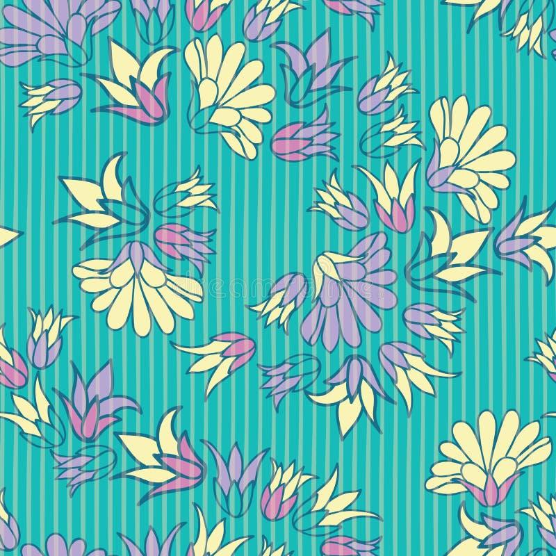 Purpurowych Żółtych kwiatów powtórki wzoru Bezszwowy Wektorowy tło ilustracja wektor