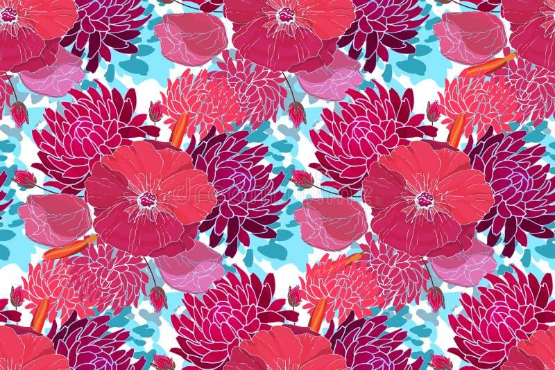 Purpurrote Astern, Rosa, rote Malve lizenzfreie abbildung