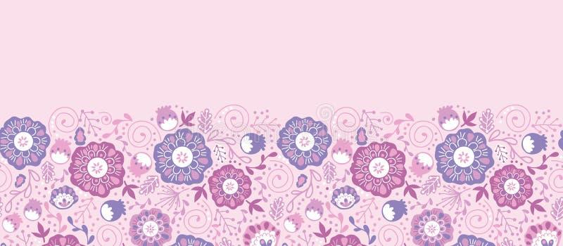 Purpurrote Blüte blüht horizontales nahtloses Muster vektor abbildung