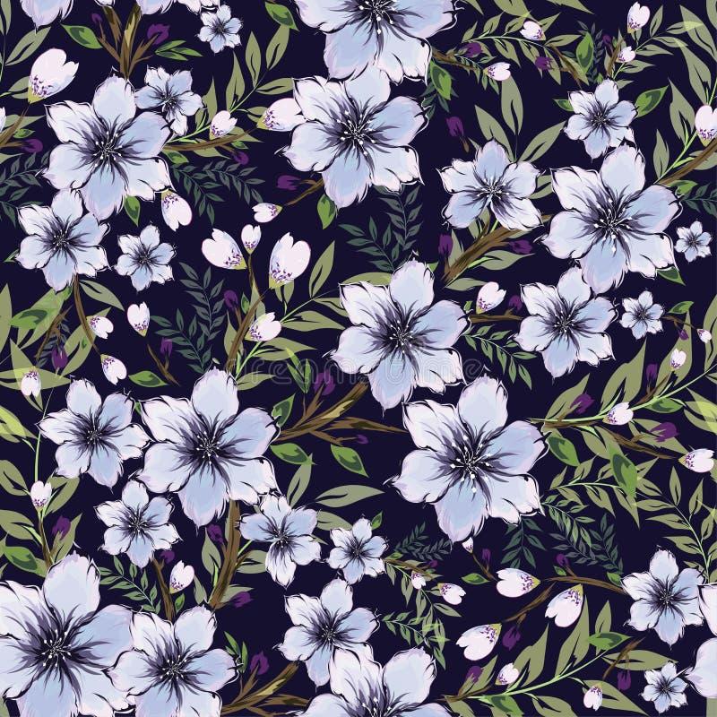 Purpurrote Blume und Knospe verziert auf blauem Hintergrund Nahtloser Klaps stock abbildung