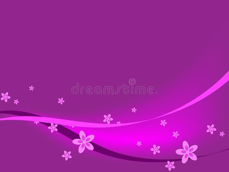 Purpurrote Blumen u. Farbbänder lizenzfreie abbildung