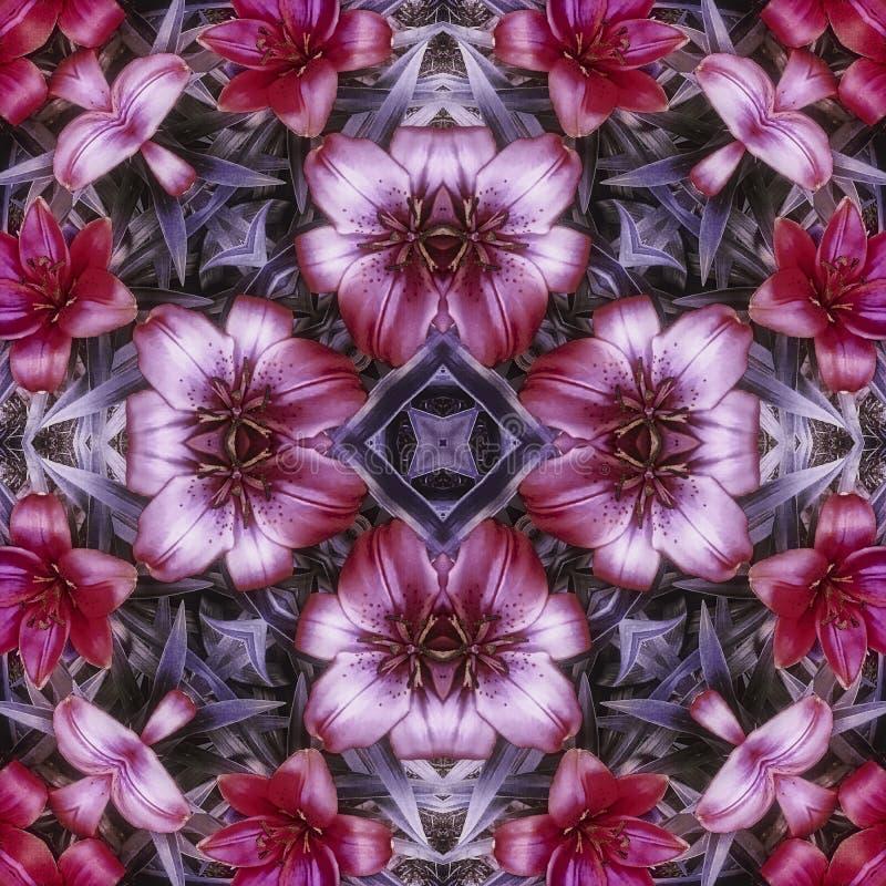 Purpurrote Blumenfliese stockbild