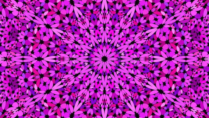 Purpurrote Blumenmosaikmandala-Mustertapete - symmetrische Vektorhintergrundgraphik vektor abbildung