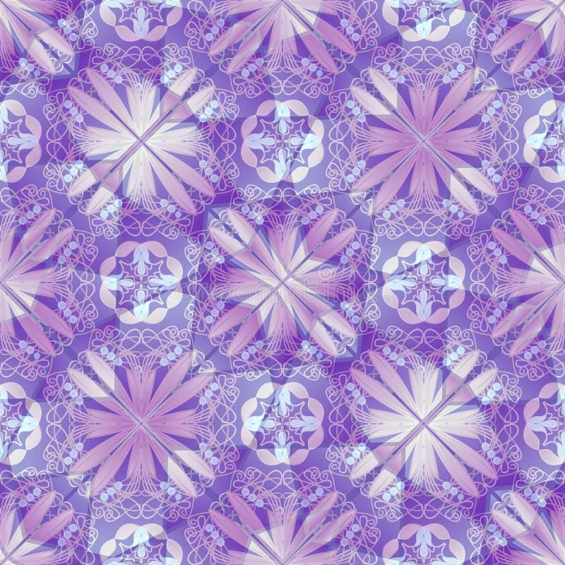 Purpurrote dekorative Hintergrundfliese mit geometrischem Blumenmotiv vektor abbildung