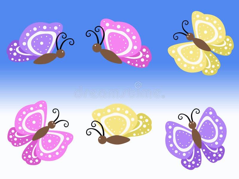 Purpurrote gelbe und rosa Frühlingsschmetterlingsillustrationen mit blauem und weißem Hintergrund stock abbildung