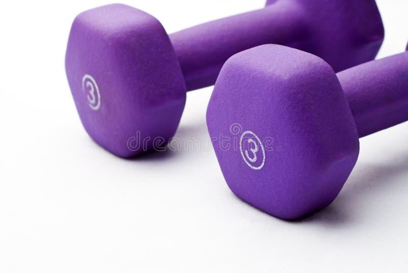 Purpurrote Gewichte dazu lizenzfreies stockbild