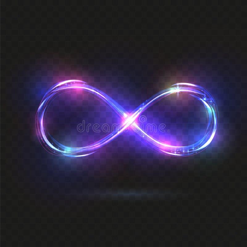 Purpurrote glänzende Unendlichkeitssymbole Blaue und violette helle Zeichen Dynamische funkelnde Linien Vier Schneeflocken auf we vektor abbildung