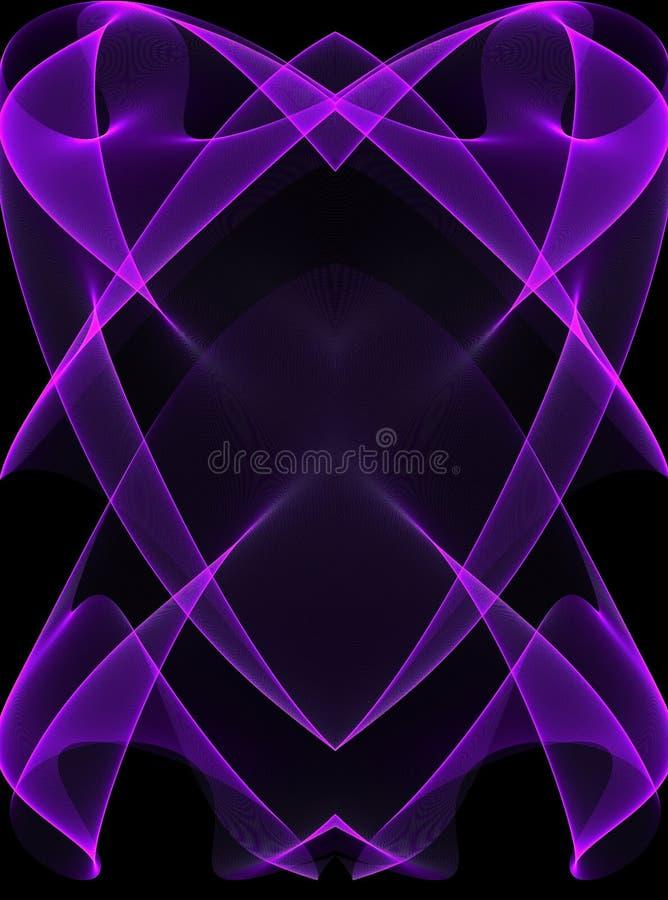 Purpurrote glühende Zeilen auf Schwarzem lizenzfreie abbildung