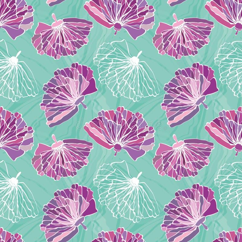 Purpurrote Handgezogene Blumen mit gekennzeichneter unfertiger weißer Blüte Nahtloses Vektormuster auf gemarmortem Türkishinte lizenzfreie abbildung